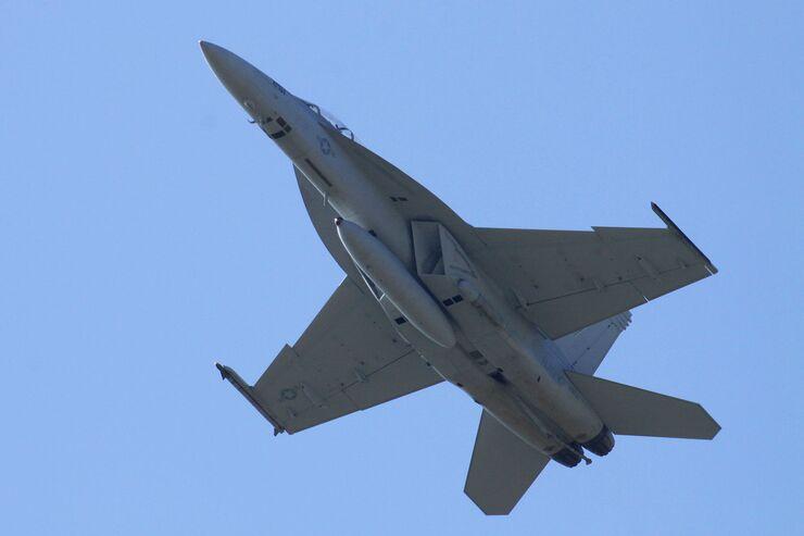Boeing F-18F zur Erprobung in Payerne.